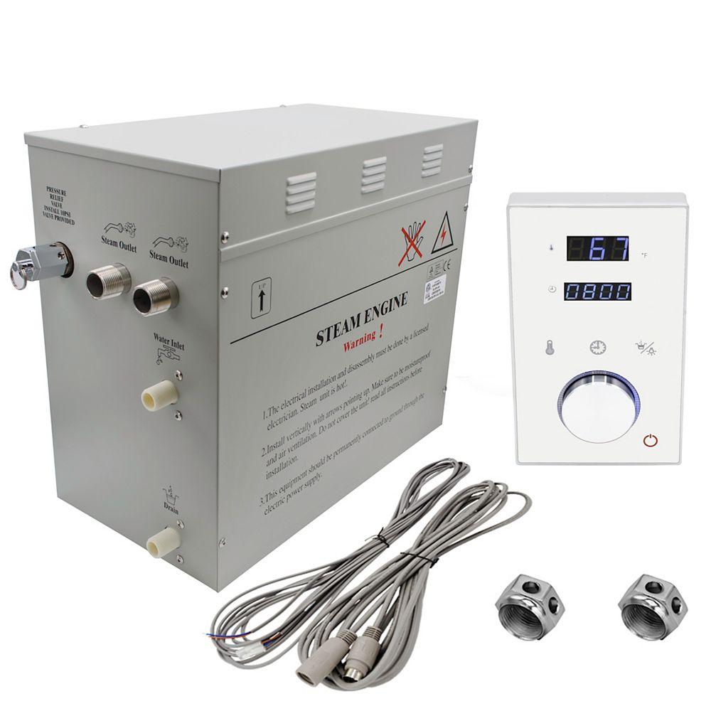 Steam Planet Générateur de bain à vapeur de luxe supérieur de 12 kW avec commande numérique programmable en blanc