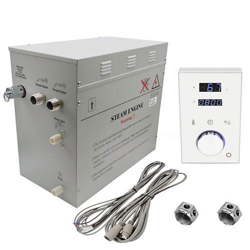 Générateur de bain à vapeur de luxe supérieur de 12 kW avec commande numérique programmable en blanc