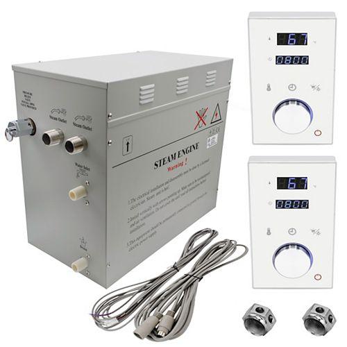 Générateur de bain à vapeur de luxe supérieur de 12 kW, 2 commandes numérique programmable en blanc