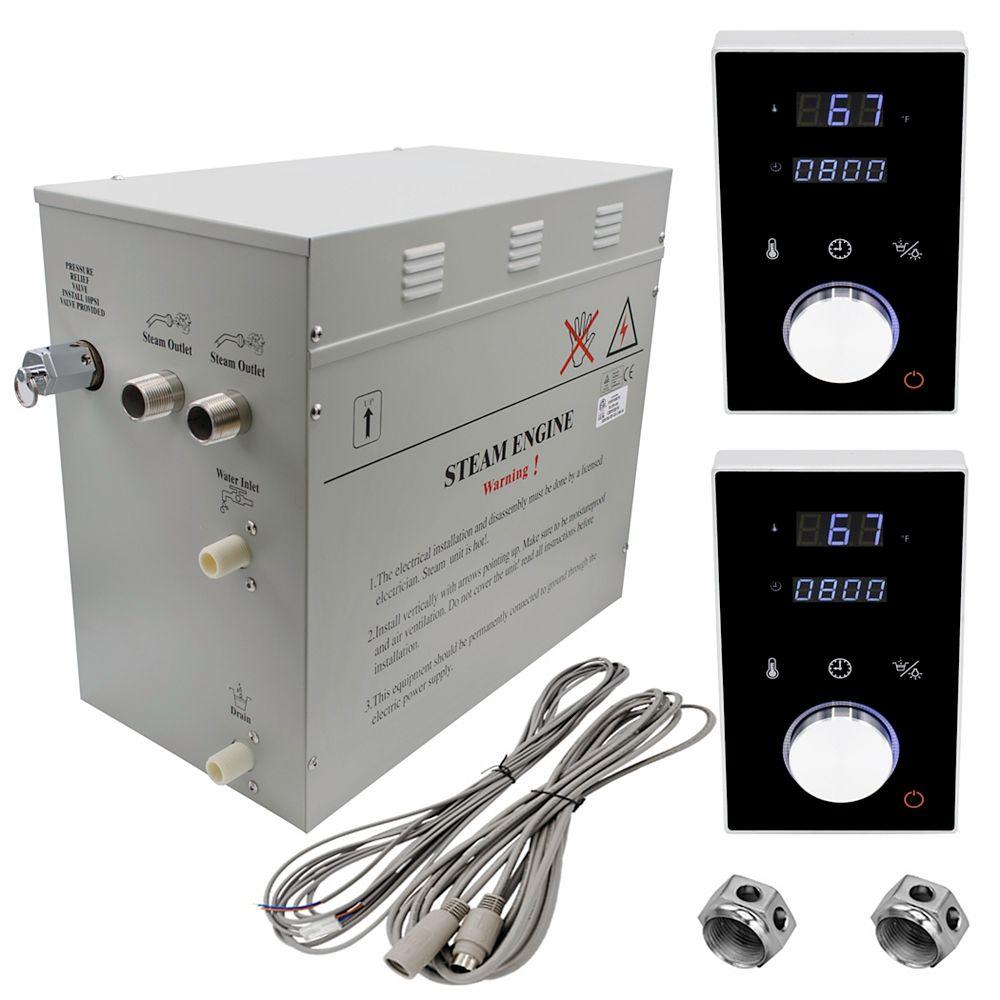 Steam Planet Générateur de bain à vapeur de luxe supérieur de 12 kW, 2 commandes numérique programmable en noire
