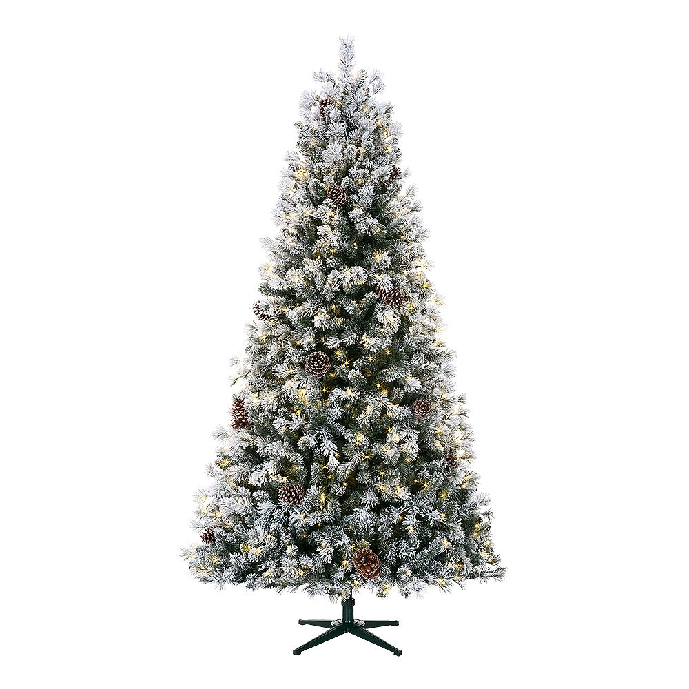 Home 7.5 ft. Lexington Heavy Flocked Quick-Set White Pine Pre-Lit Tree with 500 Warm White Micro Dot LED Lights TG76M3C03L18