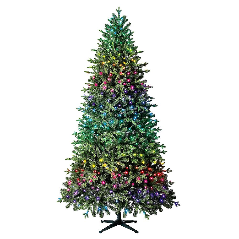Home 7.5 ft. Twinkly Swiss Mountain Black Spruce Quick-Set Pre-Lit Tree TG76P4C24P00