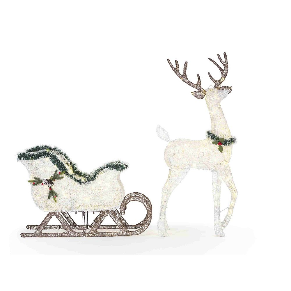 Home Accents Holiday 2 Piece Led Deer And Sleigh Christmas Decoration The Home Depot Canada