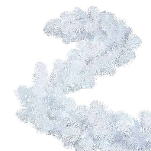 9 ft. Cluster Pre-Lit Christmas Garland in White with 70 Battery-Operated Cool White Micro Dot LED Lights