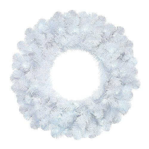 26-inch White Cluster Pre-Lit Christmas Wreath with 50 Cool White Battery-Operated Micro Dot LED Lights