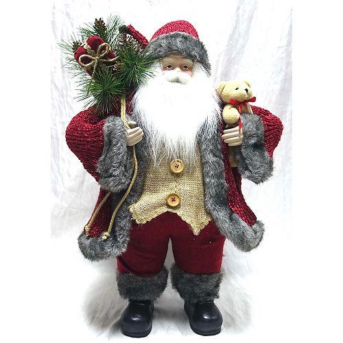 VC 22 inch Red Plaid Fabric Standing Santa