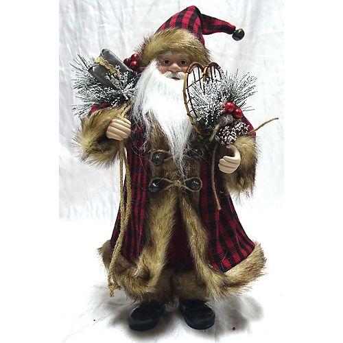 VC 16 inch Red Plaid Standing Santa