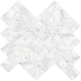 Herringbone Carrara Peel & Stick Backsplash Tiles