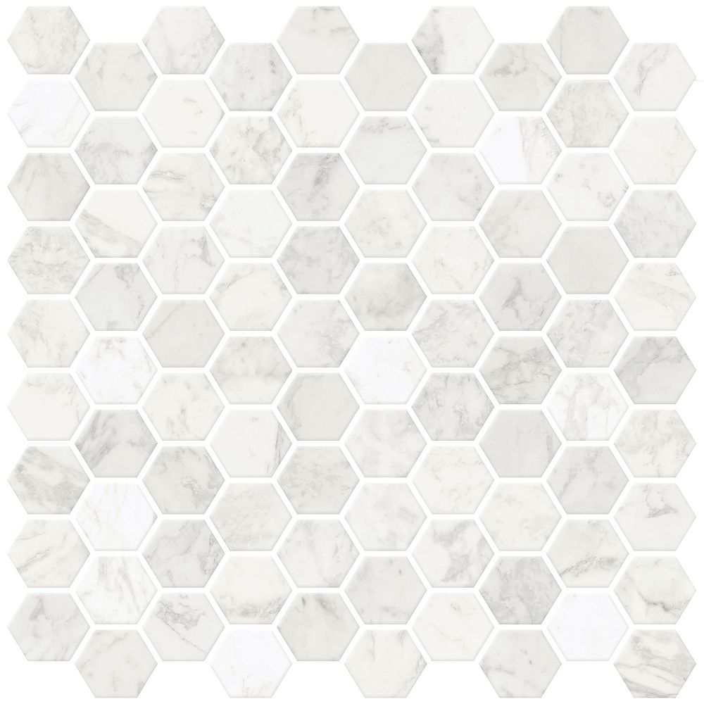 Inhome Hexagon Marble Peel Stick Backsplash Tiles The Home Depot Canada