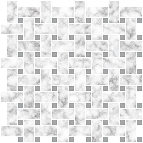 InHome Basketweave Carrara Peel & Stick Backsplash Tiles