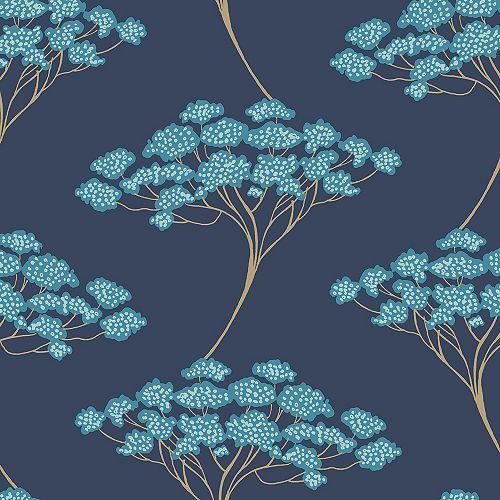 Papier Peint Pelerl et Coller  Ficus Bleu