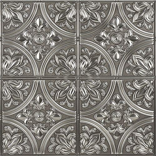 InHome Chelsea Silver Peel & Stick Tin Tiles