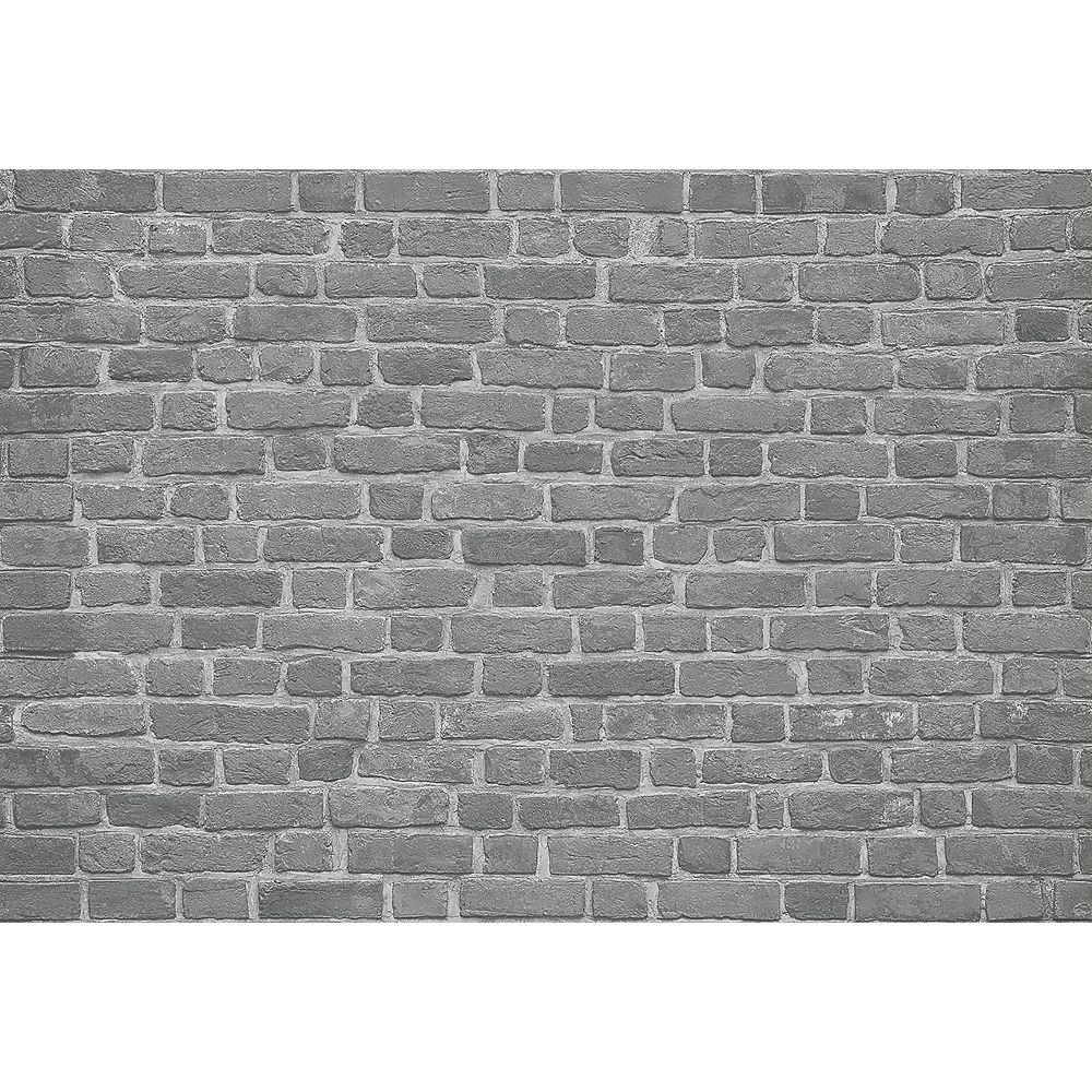 Ideal Decor Brick Wall Black Wall Mural The Home Depot Canada