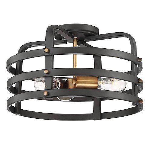 Semi-plafonnier à diffuseur grillagé rond 15 po, 3 lumières, bronze vintage