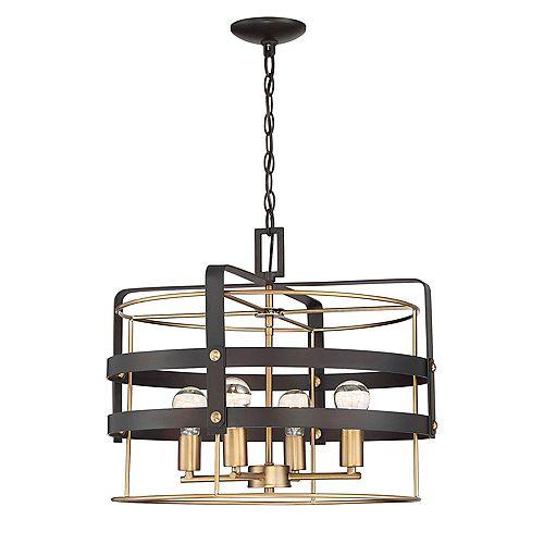 Suspension à diffuseur grillagé rond, 4 lumières, bronze vintage