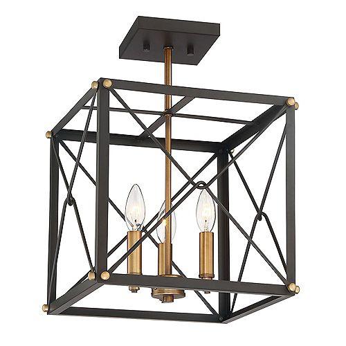 Semi-plafonnier à diffuseur grillagé cubique 13 po, 3 lumières, bronze vintage