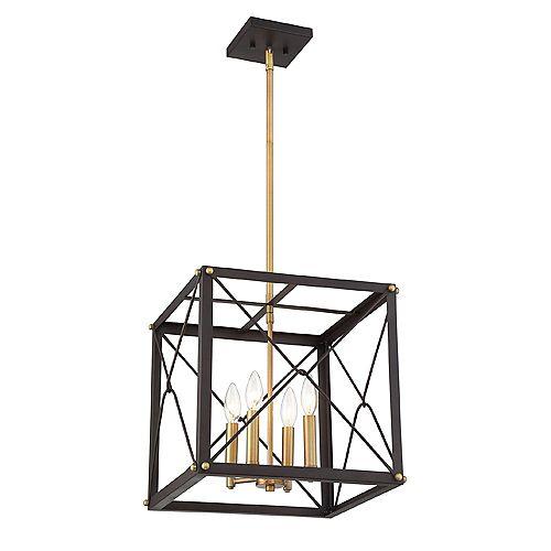 Suspension à diffuseur grillagé, 4 lumières, bronze vintage