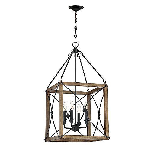 Cordelia Lighting Open Cage 4-Light Painted Wood Pendant in Vintage Black