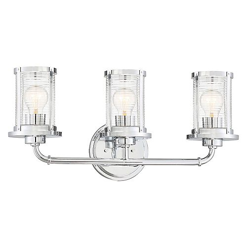 Cordelia Lighting Cylinder Style 23 in. 3-Light Vanity,Chrome