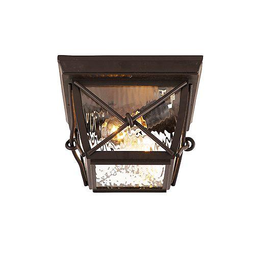 Luminaire extérieur rustique Springbrook moyenne, 2 lumières, diffuseur en verre clair