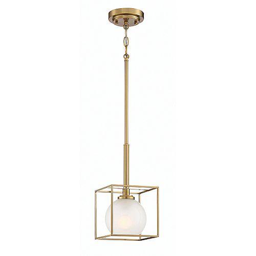 Mini-suspension Cowen à 1 lumière, diffuseur en verre clair poli gravé, or brossé