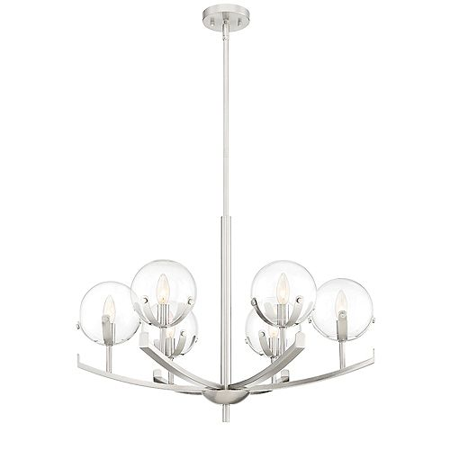 Designers Fountain Spyglass 6-Light Satin Platinum Interior Chandelier with Clear Glass Shade