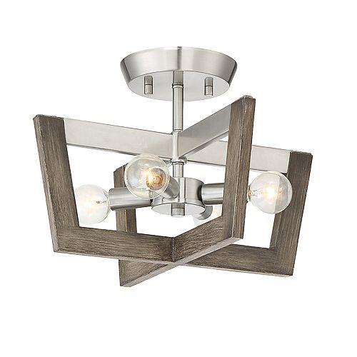 Semi-plafonner Westend 14 po, 4 lumières, fini platine satinée