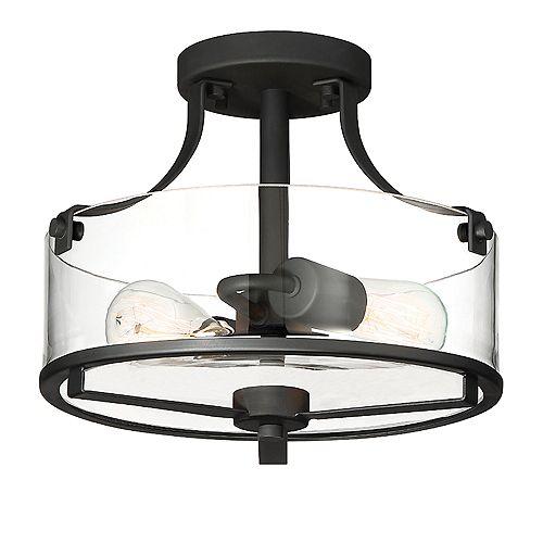 Semi-plafonnier Jedrek noir à 2 lumières