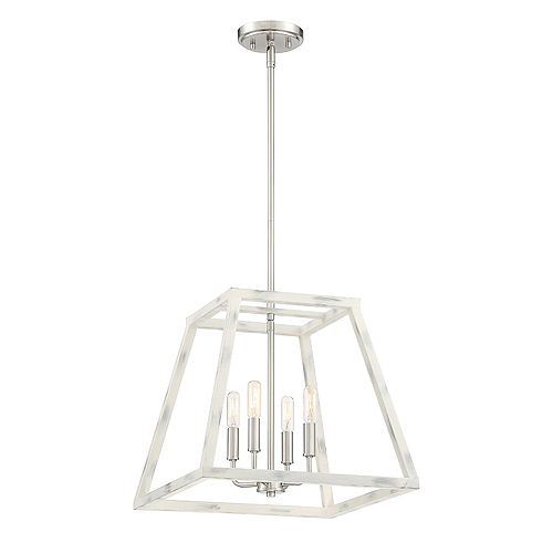 Designers Fountain Rhode 4-Light Coastal Weathered White Interior Pendant
