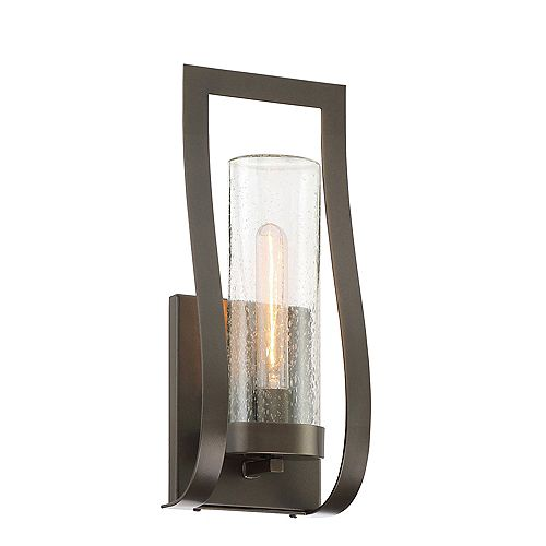 Weaver 6.5 in. 1-Light Burnished Bronze Outdoor Wall Lantern Sconce with Clear Seedy Glass Shade