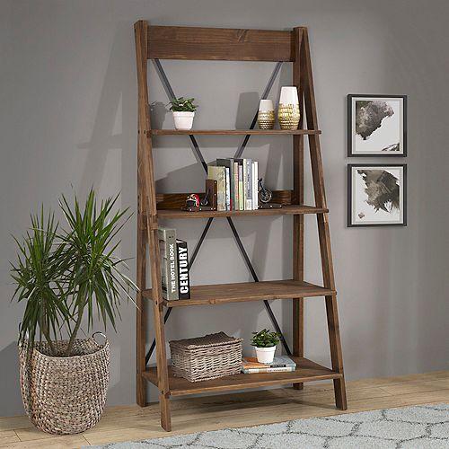 4 Shelf Modern Farmhouse Solid Wood Ladder Bookshelf and Storage - Brown