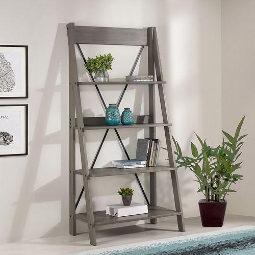 4 Shelf Modern Farmhouse Solid Wood Ladder Bookshelf and Storage - Grey