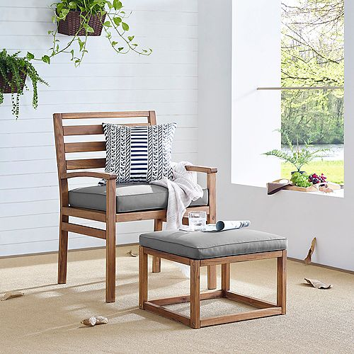 Modern Outdoor Patio Chair & Pull Out Ottoman - Brown/Grey