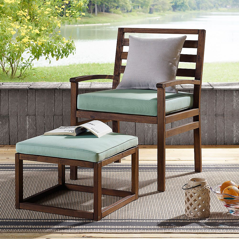Welwick Designs Modern Outdoor Patio Chair & Pull Out Ottoman - Dark Brown/Blue