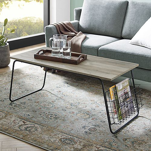 Welwick Designs Modern Coffee Table with Storage and Magazine Holder - Grey Wash/Black