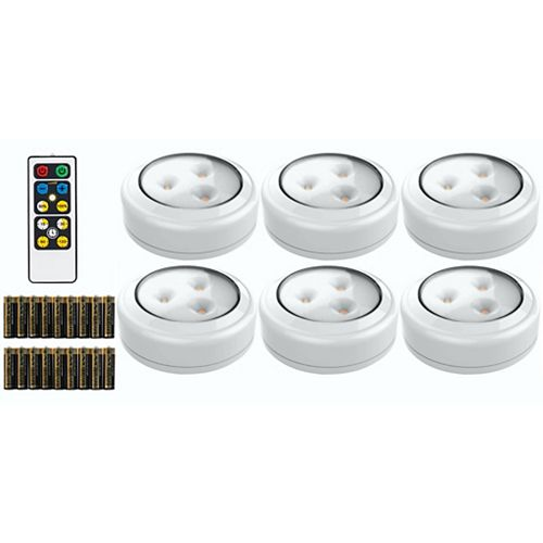 Wireless LED Puck Light 6 Pack With Remote and 18 AA batteries
