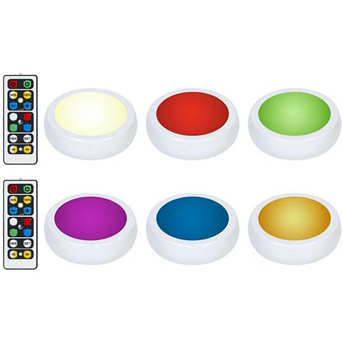 Brilliant Evolution Wireless LED Color Changing Puck Light 6 Pack With 2 Remotes