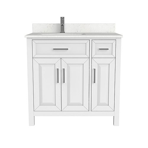 Art Bathe Terrence 36 inch W x 22 inch D White Vanity with White Stone Top with White Sink and Power Bar-Organizer