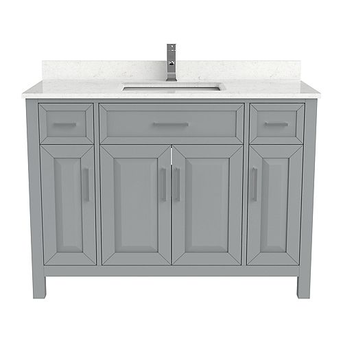 Terrence 48 inch W x 22 inch D Grey Vanity with White Stone Top with White Sink and Power Bar-Organizer
