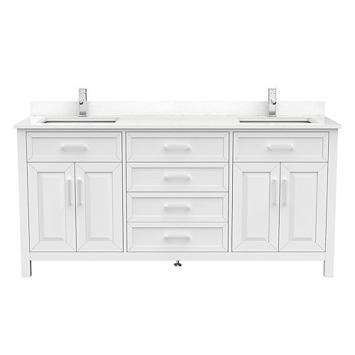 Art Bathe Terrence 72 inch W x 22 inch D White Vanity with White Stone Top with White Sink and Power Bar-Organizer