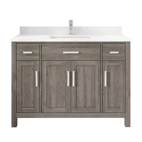 Kali 48 inch W x 22 inch D Grey Vanity with White Stone Top with White Sink and Power Bar-Organizer