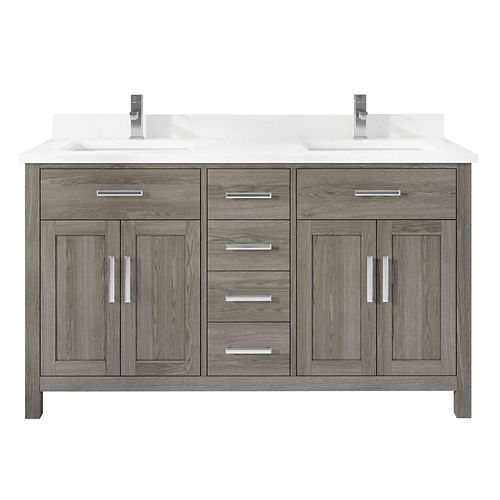 Kali 60 inch W x 22 inch D Grey Vanity with White Stone Top with White Sink and Power Bar-Organizer