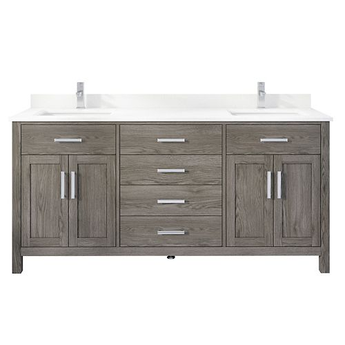 Kali 72 inch W x 22 inch D Grey Vanity with White Stone Top with White Sink and Power Bar-Organizer