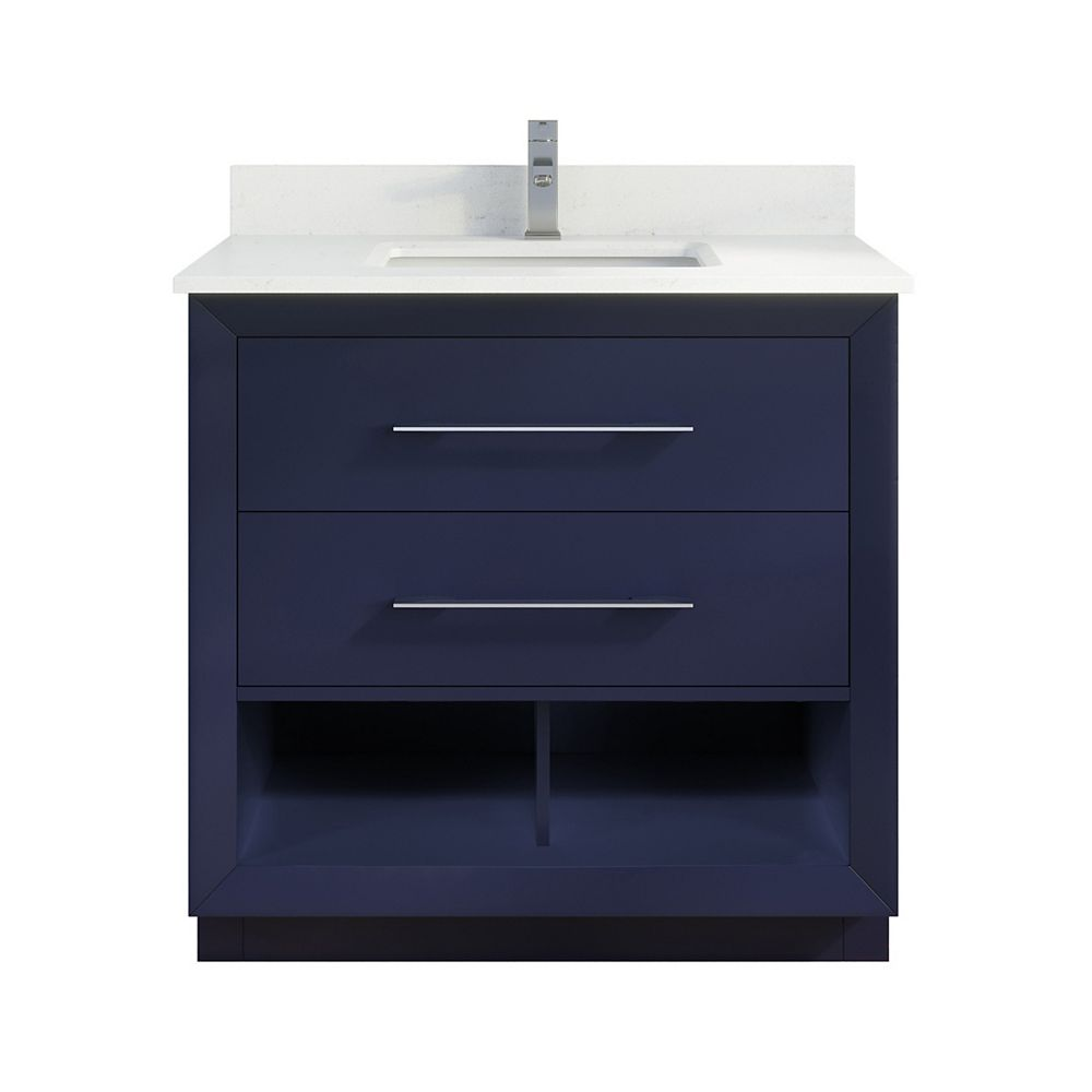 Art Bathe Rio Ii 36 Inch W X 22 Inch D Blue Vanity With White Stone Top With White Sink Wi The Home Depot Canada
