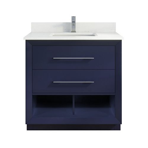 Art Bathe Rio II 36 inch W x 22 inch D Blue Vanity with White Stone Top with White Sink with Power Bar-Organizer