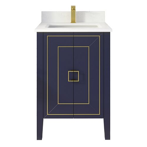 Harper 24 inch W x 22 inch D Vanity in Blue with Engineered Stone Top in White and Rectangular Basin