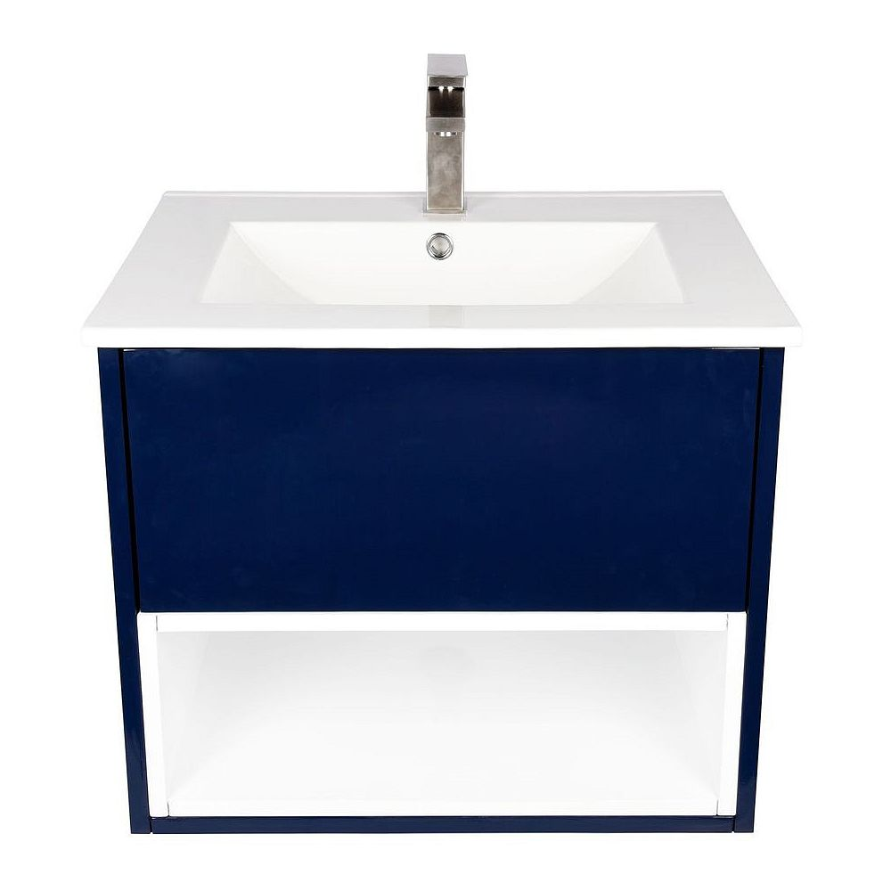 Art Bathe Maverick 24 inch W x 19 inch D Vanity in Blue with Ceramic Top in White and Rectangular White Basin