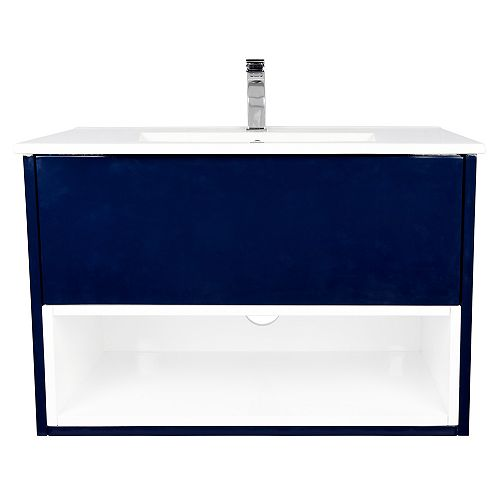 Art Bathe Maverick 30 inch W x 19 inch D Vanity in Blue with Ceramic Top in White and Rectangular White Basin