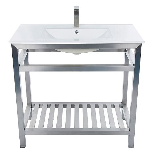 Maddox 36 inch W x 19 inch D Brushed Steel Free-standing Rectangle White Sink Vanity Top in Ceramic