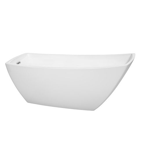 Wyndham Collection Antigua 67 inch Freestanding White Bathtub with Polished Chrome Drain and Overflow Trim